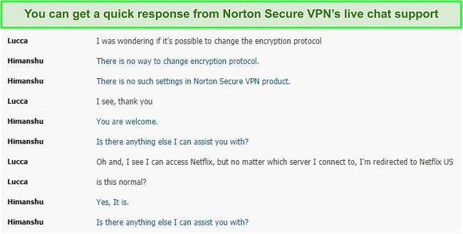 Screenshot of a live chat conversation with Norton Secure VPN support.