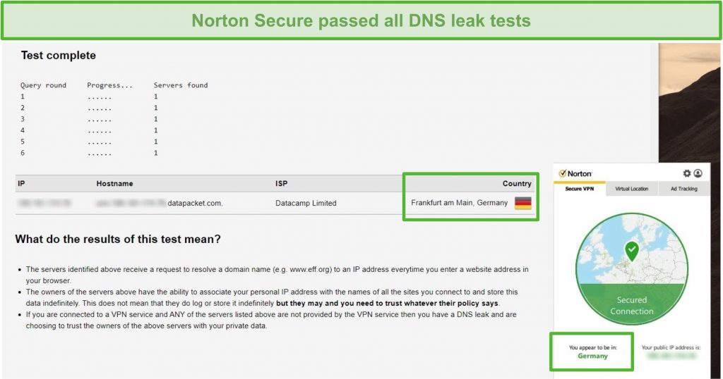 Screenshot of Norton Secure VPN passing a DNS leak test.