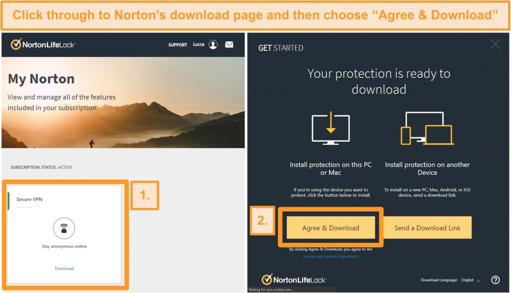 Screenshots of Norton Secure VPNs My Norton and download pages.