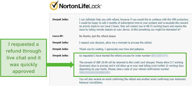 Screenshot of requesting a refund through Norton Secure VPN's 24/7 live chat