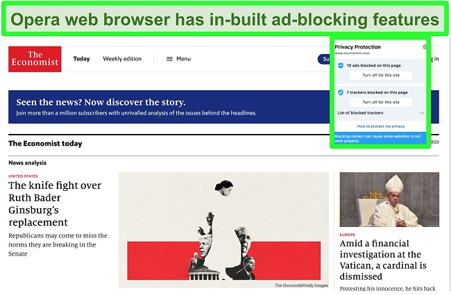 Screenshot of Opera brower's in-built ad blocker removing ads from TechCrunch website