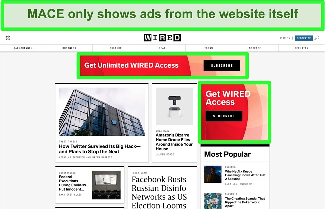 Screenshot of MACE blocking most ads on Wired website