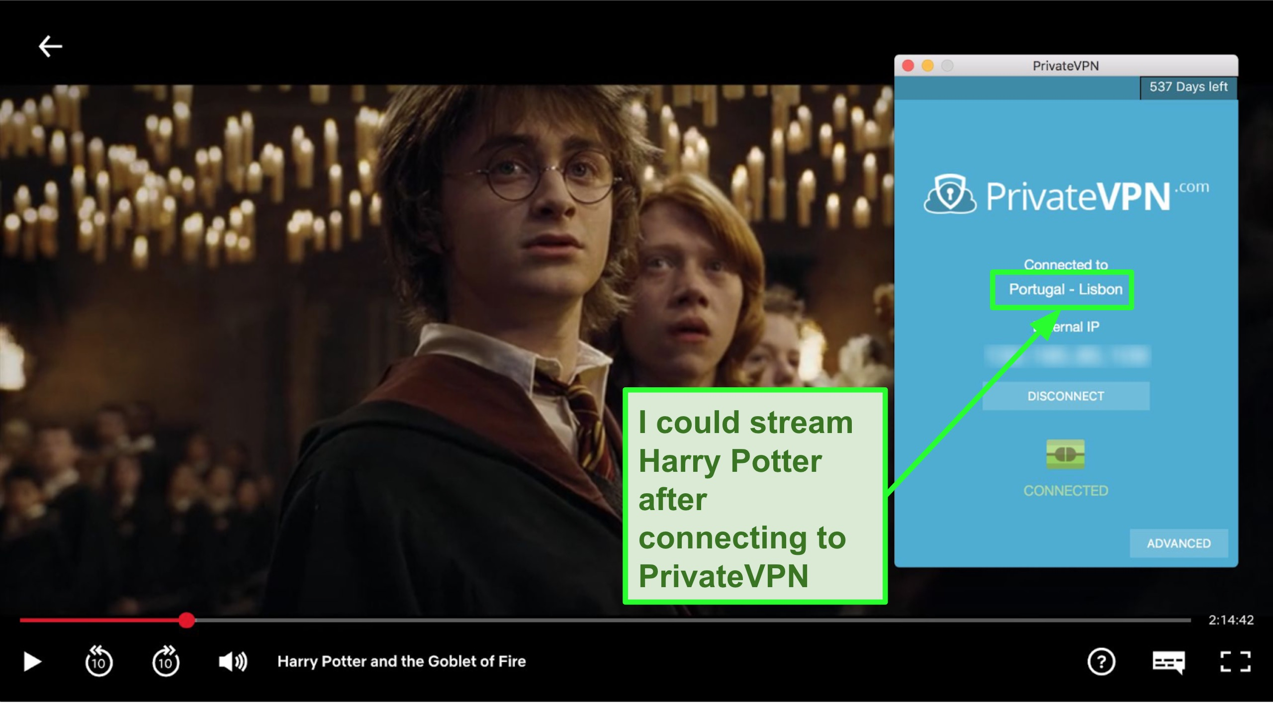 Screenshot of PrivateVPN connected to Portugal server and streaming Harry Potter on Netflix