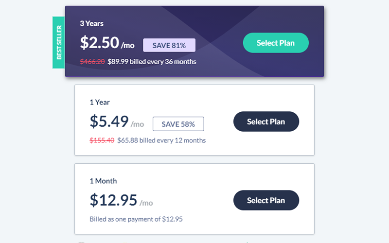 Screenshot of SaferVPN's pricing table showing 81% off deal