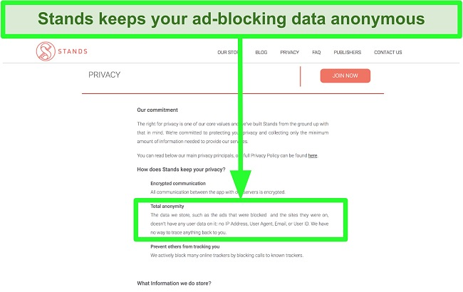 Screenshot of Stands website stating that the data it has about ads blocked is never linked to users' personal information