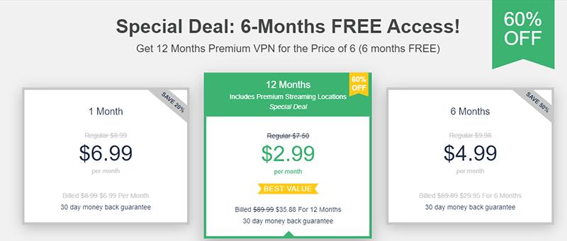 Screenshot of UltraVPN's 60% off special deal