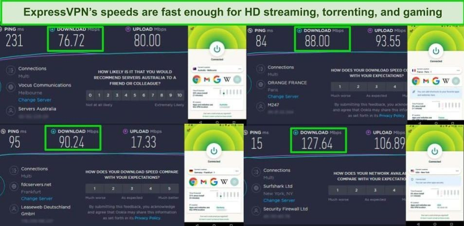 Screenshot of 4 speed tests while ExpressVPN is connected to different servers on Android