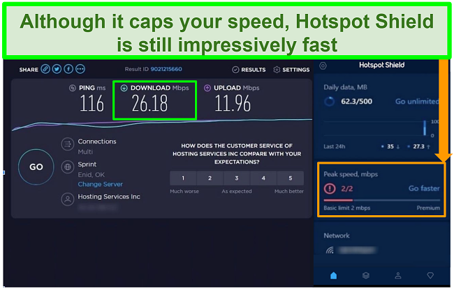 Screenshot of speed test results while connected to Hotspot Shield interface