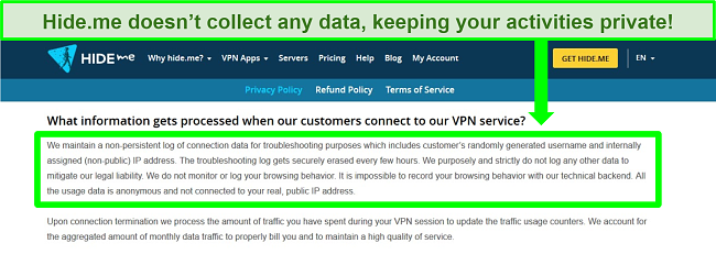 Screenshot of Hide.me privacy policy showing no data logs are kept