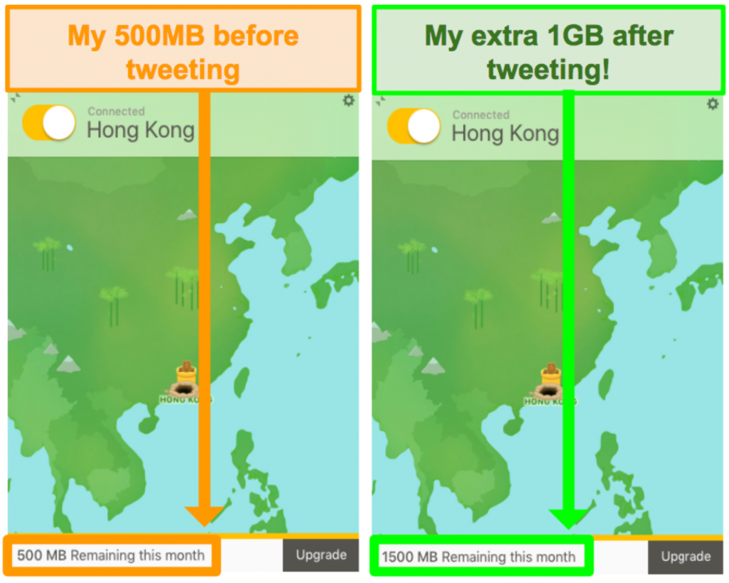 Screenshot of TunnelBear giving 1GB of extra data for tweeting