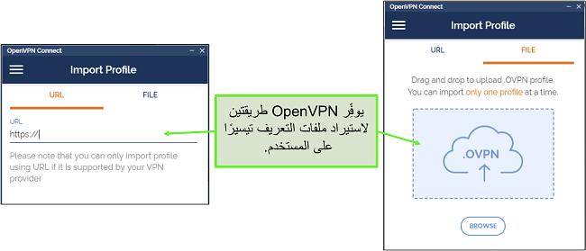لقطة شاشة لطريقتين يمكنك من خلالهما استيراد ملفات تعريف الخادم إلى OpenVPN UI.