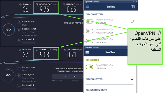 لقطة شاشة لاثنين من اختبارات السرعة مع بيانات متشابهة جدًا ، وكلاهما يستخدم خادم سياتل.