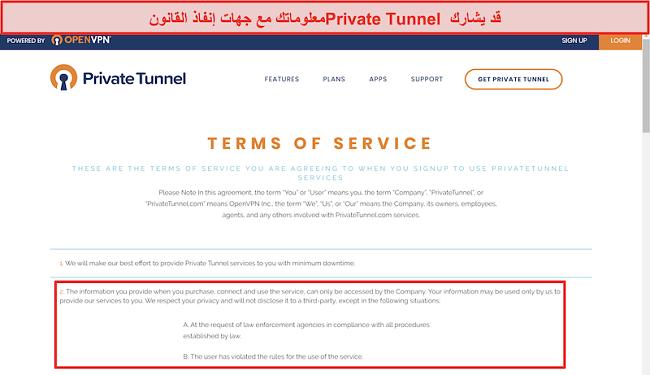 لقطة شاشة لشروط خدمة Private Tunnel