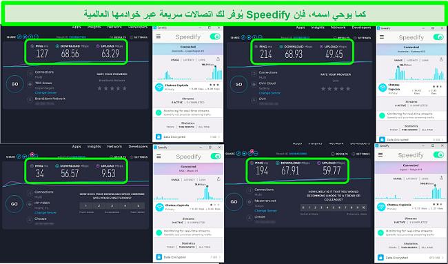 لقطة شاشة لاختبارات السرعة أثناء اتصال Speedify بخوادم في الدنمارك وأستراليا والولايات المتحدة واليابان