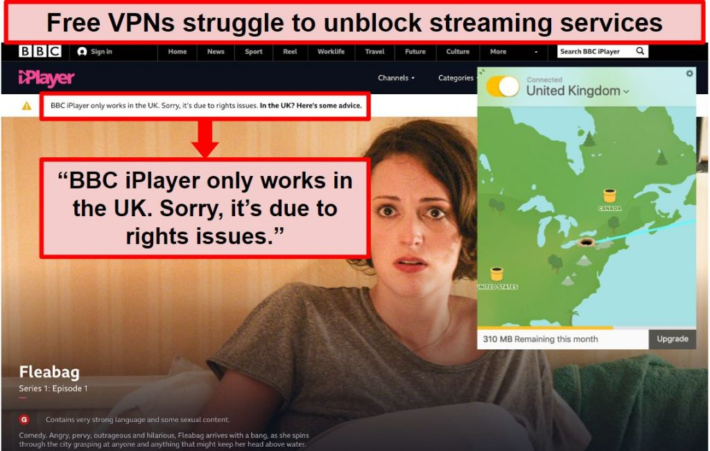 Screenshot of TunnelBear connected to a UK server and unable to access BBC iPlayer