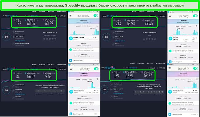 Екранна снимка на тестове за скорост, докато Speedify е свързан със сървъри в Дания, Австралия, САЩ и Япония