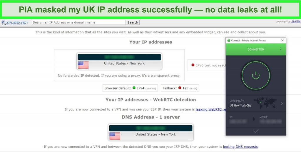 Screenshot of IP leak test results with PIA connected to a US server.