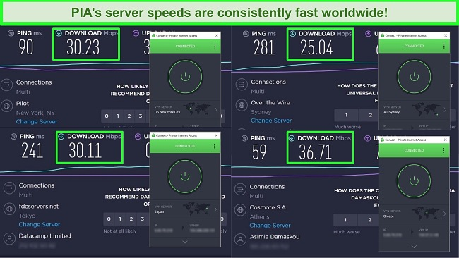 Screenshots of Ookla speed tests with PIA connected to different global servers.