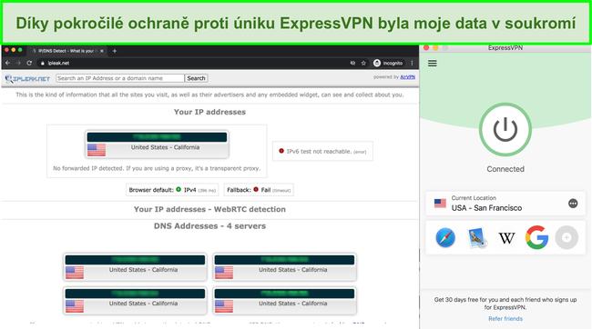 Screenshot ukazující, že ExpressVPN prošel úniky IP, DNS a WebRTC