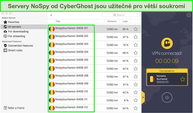 Screenshot Rozhraní CyberGhost VPN zobrazující své servery NoSpy