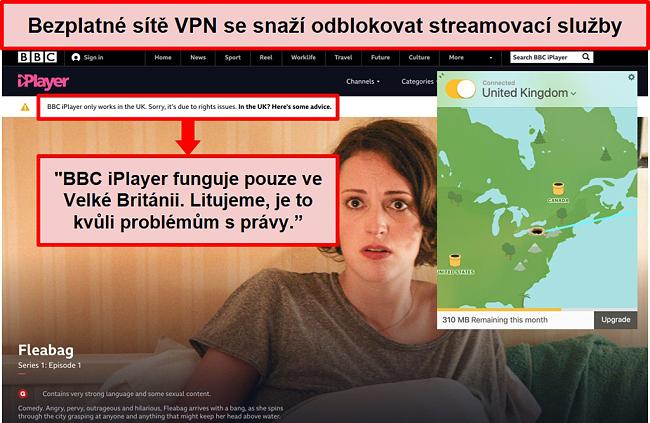 Screenshot TunnelBear připojeného k britskému serveru a nemožného přístupu k BBC iPlayer