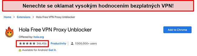 Screenshot aplikace Hola Free VPN Proxy Unblocker v obchodě s rozšířeními Google Chrome