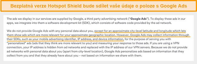 Screenshot ze zásad ochrany osobních údajů Hotspot Shield ve službě Google Ads