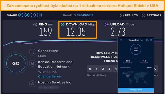 Screenshot bezplatné verze Hotspot Shield pro Mac připojený k americkému serveru s výsledky testů rychlosti