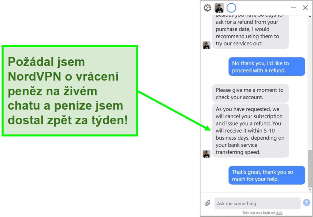 Screenshot van NordVPN-terugbetaling die wordt goedgekeurd via livechat