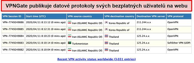 Screenshot z uživatelských protokolů VPNGate na webu