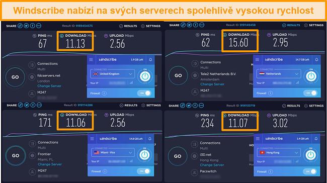 Screenshot výsledků testů rychlosti pro Windscribe VPN a její servery ve Velké Británii, Nizozemsku, Spojených státech a Hongkongu