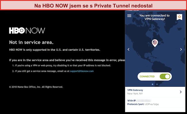 Screenshot z HBO HNED, který blokuje připojení ze soukromého tunelu