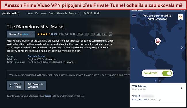 Snímek obrazovky se soukromým tunelem blokujícím Amazon Prime