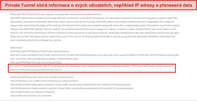 Screenshot z politiky shromažďování, uchovávání a používání dat soukromého tunelu.
