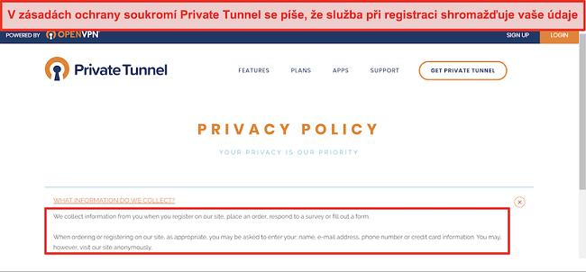Screenshot zásad ochrany osobních údajů soukromého tunelu