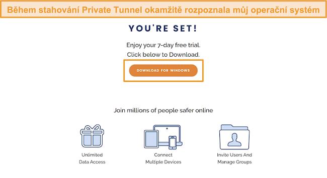 Screenshot obrazovky se stažením aplikace Private Tunnel