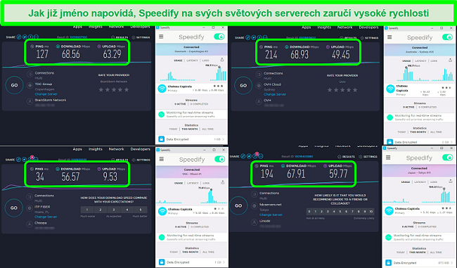 Screenshot z testů rychlosti, zatímco Speedify je připojen k serverům v Dánsku, Austrálii, USA a Japonsku
