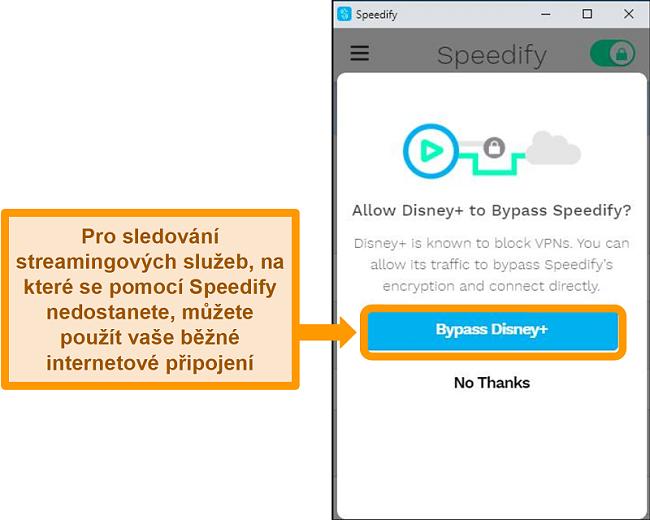Screenshot uživatelského rozhraní Speedify zobrazující možnost obejít Disney +