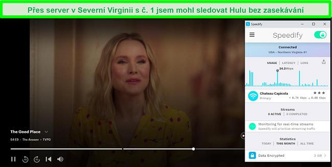 Screenshot z Netflixu, jak hraje Unbreakable Kimmy Schmidt, zatímco je Speedify připojen k serveru ve španělštině