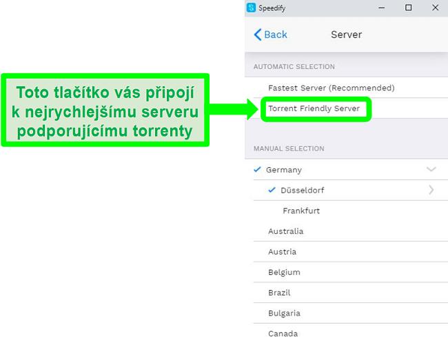 Screenshot z nabídky výběru serveru Speedify