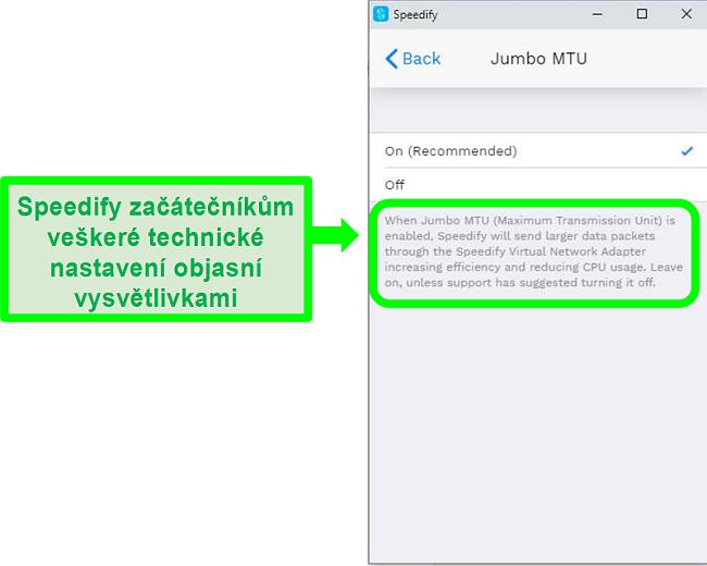 Screenshot vysvětlení pod jedním z nastavení Speedify
