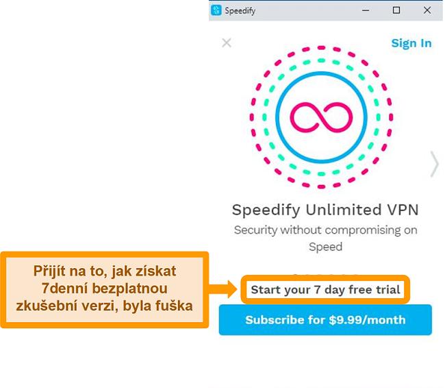 Screenshot spouštěcí obrazovky Speedify