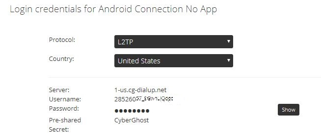 Screenshot of step 8 on How to Install CyberGhost without an App on Android showing login credentials