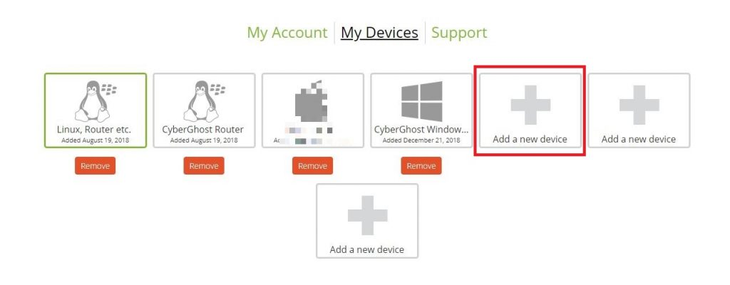 Screenshot of step 3 on How to Install CyberGhost without an App on Android showing account devices info