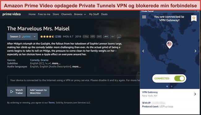 Skærmbillede af Amazon Prime, der blokerer for privat tunnel