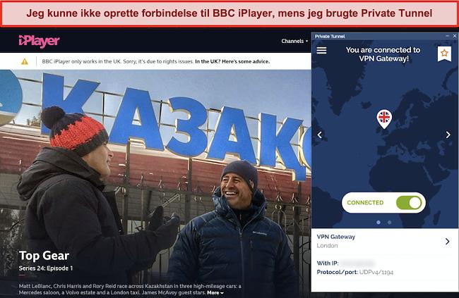 Skærmbillede af BBC iPlayer, der blokerer for privat tunnel