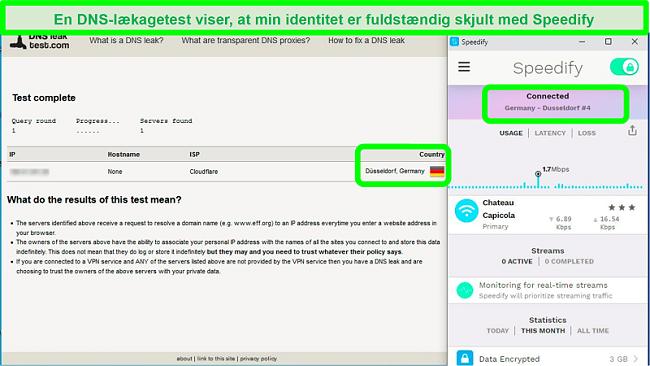 Skærmbillede af en DNS-lækagetest, mens Speedify er forbundet til en tysk server