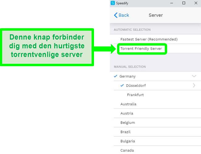 Skærmbillede af Speedifys menu til servervalg