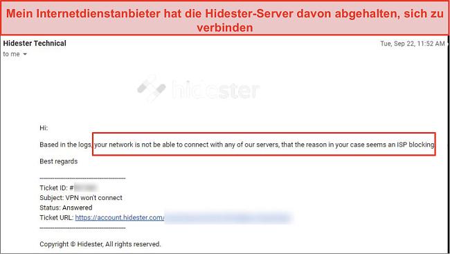 Screenshot von Hidester vom ISP blockiert