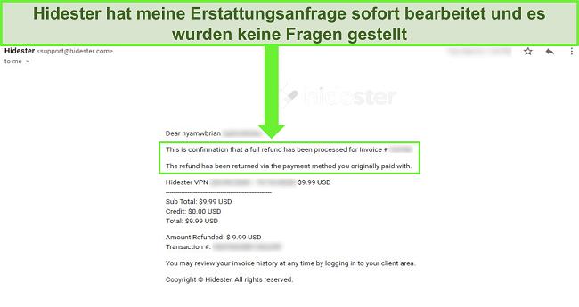 Screenshot des Hidester-Supports zur Genehmigung der Rückerstattung